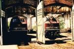 bestwig/153575/abgestellte-218-136-0-und-218-142-8 Abgestellte 218 136-0 und 218 142-8  im schon stark beschädigten Lokschuppen des Bw Bestwig. (Scan vom alten Foto, Aufnahmejahr leider nicht bekannt)